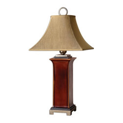 """Silver Nest - Bravado Table Lamp - 35""""h - Ceramic base finished in a glossy, burnt russet glaze with dark bronze accents and antiqued silver champagne details. The round top, square bottom, bell shade is a golden bronze linen fabric with natural slubbing."""