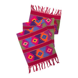 Mayan Table Runner in Maroon - From San Juan Comalapa, Guatemala, this table runner is hand woven using the ancient artisan technique of backstrap weaving. Featuring a striking Mayan design in tones of green, pink, orange and blue on a maroon base. Each table runner is one of a kind and due to its handmade nature, color patterns and dimensions may vary slightly.