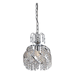 Warehouse of Tiffany - Catherine Crystal Chandelier - This Catherine Crystal Chandelier creates a glamorous sparkling pendant that complements your modern look.Catherine Crystal ChandelierClear CrystalHardwireW10in x H13inW12 x H15Bulb Qty: 1*60W*E14100 cm hanging wire includedMetalCSA Listed, ETL Listed, UL Listed