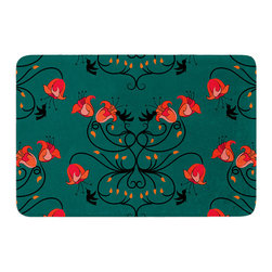 """KESS InHouse - Yenty Jap """"Hummingbird"""" Teal Red Memory Foam Bath Mat (17"""" x 24"""") - These super absorbent bath mats will add comfort and style to your bathroom. These memory foam mats will feel like you are in a spa every time you step out of the shower. Available in two sizes, 17"""" x 24"""" and 24"""" x 36"""", with a .5"""" thickness and non skid backing, these will fit every style of bathroom. Add comfort like never before in front of your vanity, sink, bathtub, shower or even laundry room. Machine wash cold, gentle cycle, tumble dry low or lay flat to dry. Printed on single side."""