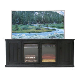 Eagle Furniture Manufacturers - Coastal 79.75 in. Tall Entertainment Console (Black) - Finish: Black. Two glass panel doors. One adjustable wood shelf. Two bead board doors. Two fixed wood shelves. Decorative molding. Bead board detailing. Made from poplar, birch solids and veneers. Warranty: Eagle's products are guaranteed against material defects for one year from date of delivery to the dealer. Made in USA. No assembly required. 79.75 in. W x 22 in. D x 32 in. H (134.67 lbs.)The Coastal collection fits today's casual lifestyle. Recessed doors, bead board panels and solid wood moldings provide a clean, contemporary style that is complemented by a choice of painted or rich stained finishes.