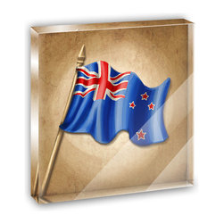 """Made on Terra - Vintage New Zealand Flag Mini Desk Plaque and Paperweight - You glance over at your miniature acrylic plaque and your spirits are instantly lifted. It's just too cute! From it's petite size to the unique design, it's the perfect punctuation for your shelf or desk, depending on where you want to place it at that moment. At this moment, it's standing up on its own, but you know it also looks great flat on a desk as a paper weight. Choose from Made on Terra's many wonderful acrylic decorations. Measures approximately 4"""" width x 4"""" in length x 1/2"""" in depth. Made of acrylic. Artwork is printed on the back for a cool effect. Self-standing."""