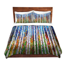 DiaNoche Designs - Duvet Cover Microfiber by Karen Tarlton - Autumn Birch Tree - DiaNoche Designs works with artists from around the world to bring unique, artistic products to decorate all aspects of your home.  Super lightweight and extremely soft Premium Microfiber Duvet Cover (only) in sizes Twin, Queen, King.  Shams NOT included.  This duvet is designed to wash upon arrival for maximum softness.   Each duvet starts by looming the fabric and cutting to the size ordered.  The Image is printed and your Duvet Cover is meticulously sewn together with ties in each corner and a hidden zip closure.  All in the USA!!  Poly microfiber top and underside.  Dye Sublimation printing permanently adheres the ink to the material for long life and durability.  Machine Washable cold with light detergent and dry on low.  Product may vary slightly from image.  Shams not included.