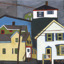 Stacey Durand - Chase Street and Main by Stacey Durand - Here's a tiny, wrap-around view of Chase Street and Main. Stacey Durand's collection takes you on a walk down the streets of coastal New Hampshire. Even mainlanders will love the vibrant colors and shapes of these paintings. Collect them all for instant coastal charm at home or at the cottage.