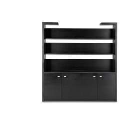 Zuri Furniture - Madison Bookcase in Black Oak with Storage - You'll be the envy of the office with this statement piece. Madison supplies you storage space as well as adequate space for your decorations and achievements so go ahead and show off a little. Open cut outs above the shelves ensure that this piece blends seamlessly into you walls. Looks great behind our Clinton Reception desk as well!