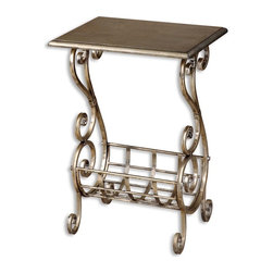 Silver Leaf Finish Metal Scroll Magazine Table - *Lightly burnished silver leaf finish with subtle champagne patina.