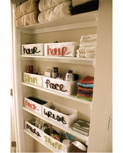 Eclectic  Bathroom storage idea