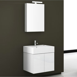 Iotti - 24 Inch Bathroom Vanity Set - Truly a case where less is more, this Italian vanity set in minimalist style delivers solid performance, contemporary fashion and just the right size for your bathroom. Available in Glossy White, Wenge and Gray Oak, the waterproof construction and materials are free of ornamentation and unnecessary frills. You get generous storage underneath and shelf space on the fitted white ceramic sink. The reversible door mirrored medicine cabinet has two shelves and vanity light and resists scratching and corrosion. Set Includes: . Vanity Cabinet (2 doors). Fitted ceramic sink (23.6 inch x 5.7 inch x 18.3 inch ). Medicine cabinet (23.2 inch ). Vanity Light (11.8 inch ). Vanity Set Features:. Vanity cabinet made of engineered wood. Cabinet features waterproof panels. Available in Glossy White (as shown), Gray Oak, Wenge. Cabinet features 2 doors. Faucet not included. Perfect for modern bathrooms. Made and designed in Italy. Includes manufacturer 5 year warranty.