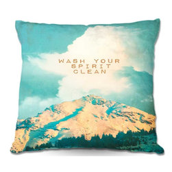 DiaNoche Designs - Pillow Woven Poplin by Monika Strigels Wash Your Spirit Clean - Toss this decorative pillow on any bed, sofa or chair, and add personality to your chic and stylish decor. Lay your head against your new art and relax! Made of woven Poly-Poplin.  Includes a cushy supportive pillow insert, zipped inside. Dye Sublimation printing adheres the ink to the material for long life and durability. Double Sided Print, Machine Washable, Product may vary slightly from image.