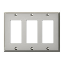 Jackson Deerfield Manufacturing - Polished Nickel Steel 3 Rocker Switchplates (JDM9PN123) - Polished Nickel Steel 3 Rocker Switchplates