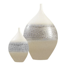 Global Views - Cream Rises Vase - Wide - Large - Subtle colors and unusal shape, makes this a must for any decor.