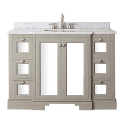 Avanity - Avanity NEWPORT-V48-FG Newport 48 in. Single Bathroom Vanity - French Gray Multi - Shop for Bathroom Cabinets from Hayneedle.com! A simple transitional-style makes the Avanity NEWPORT-V48-FG Newport 48 in. Single Bathroom Vanity - French Gray a beautiful addition to any bathroom decor. The frame is built from sturdy solid poplar hardwood to form an angular design with sharp profile. The surface is finished in a charming chilled gray. The design incorporates a double-door cabinet in the center surrounded by six soft-closing drawers. The doors and drawers are fronted with a smooth mirror surface that reflects ambient light brilliantly. A vanity top is not included. Sink and faucet are not included either. About Avanity CorporationAvanity's goal has always been to provide the public with the best products possible at the fairest prices. To this end their customer service style is about listening to their customer not just hearing them. Avanity is confident in all of their products and provides a one-year manufacturer's warranty to prove it. Avanity also takes note of increasing market trends to stay ahead of the game and provide the most cutting-edge products available.