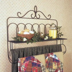 J & J Wire Victorian Double Quilt Holder with Shelf - The custom design of the J & J Wire Victorian Double Quilt Holder with Shelf lets you proudly display two heirloom quilts on the double rods and an assortment of your favorite collectibles on the wide top shelf. Fully assembled and easy to hang this holder adds rustic cozy charm to any wall. Made in the USA by skilled craftsman this quilt holder is fabricated from durable welded wrought iron with the highest quality black powder-coat finish. About J & J Wire Inc.Located at the Industrial Park in Beatrice Nebraska J & J Wire Inc. started 25 years ago as a wire-forming business manufacturing mostly houseware items. Since then the company has grown into a metal fabrication business serving customers in many different manufacturing sectors in the United States and Canada. From quilt racks to wine racks J & J Wire is committed to creating handmade works of art at affordable prices.