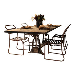 BoBo's Intriguing Objects - Axel Dining Table XL - Dine on industrial design with this unusual table. Both the adjustable iron base and the reclaimed azobe wood top recall something you'd find in a bygone factory. The overall effect is traditional with a twist.