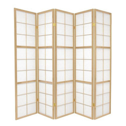 Oriental Furniture - 6 ft. Tall Mado Shoji Screen - This Mado is a beautiful Edo period large pane shoji design, slightly hardier structurally, because of two extra horizontal members in each panel frame of the room divider.