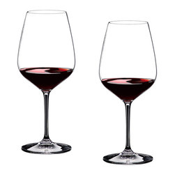 "Riedel - Riedel Vinum Extreme Cabernet Glasses - Set of 2 - VINUM EXTREME (2000) was produced to keep up with the New World intense wine structure and steady improvement of these wines. This required a very specific glass to showcase and highlight the special qualities presented in the most perfect wines from the New World. These wines call for shapes, which can ""deal"" with the concentration and translate the wines message in a perfect way. VINUM EXTREME is executed in lead crystal, machine blown in Bavaria, Germany. Recommended for: Bordeaux (red), Cabernet Franc, Cabernet Sauvignon, Fronsac, Graves rouge, Listrac, Margaux, Médoc, Merlot, Moulis, Pauillac, Pessac Leognan (Rouge), Pomerol, St. Emilion, St. Estèphe, St. Julien"