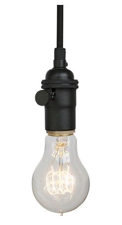 Hammers & Heels - Matte Black & Cloth Cord Bare Bulb Pendant Light - THE MINIMALIST BARE BULB PENDANT LIGHT.