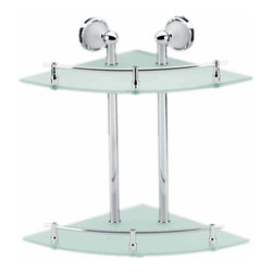 Renovators Supply - Glass Shelves Clear Glass/Stainless, Two Tier Glass Corner Shelf - Glass shelves are a modern option for the well appointed bathroom. Easy to clean, attractive, and ergonomic. Maintain order in your bathroom and improve its style.