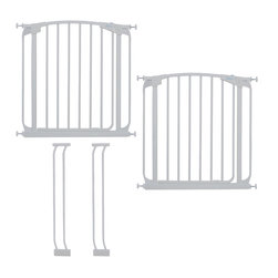 """Dreambaby - Dreambaby Chelsea Swing Close Gate Extra Value Pack, White - Dreambaby® Chelsea Swing Close Gate EXTRA VALUE PACK, 2 x swing close security gates (F160W x 2) and 2 x 3.5"""" extensions (F159W x 2). With easy close feature and its double locking system, this attractive pressure mounted gate is easy to install. Suitable for stairs also, you can feel peace of mind knowing your child is safer. This kit includes two gates and two extensions. Each gate will fit an opening of 28""""-32"""" on its own. Two 3.5"""" extensions are included. Using one gate with both extensions will reach 28""""- 39"""" and using one gate with one extension will reach 28""""-35.5."""" Additional extensions sold separately for wider spaces. Two extensions may be used per side to reach a maximum of 188."""" This Dreambaby® pressure-mounted gate is easily installed and for most situations there is no need to screw holes into woodwork or walls unless used at the top of stairs where the mounting cups must be screwed in to added security. Great for pets too!"""