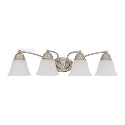 Satco - Satco 60/3321 Empire ES Energy Efficient Traditional Bathroom / Vanity Light - Brushed Nickel is accented by Frosted White glass in this complete product grouping which offers a fixture for every application