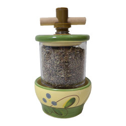 "Ceramic Mill with Herbes de Provence - Riviera, With Herbes De Provence - This charming herb mill comes loaded with authentic ""herbes de Provence"". Made of handpainted ceramic with a clear container for the herbs, a plastic mill, and a wooden handle. This mill measures 5.5"" tall by 3"" in diameter. Refillable."