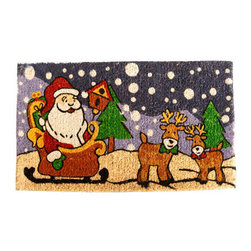 "CocoMatsNMore - CocoMatsNMore Santa Claus Is Coming To Town Design Coco Doormats - 18"" X 30"" - Eco-friendly Coco Mat are hand-woven and  made from 100% natural coir . These coco doormats are designed to last for a long time and are easy to maintain and clean by either shaking or hosing it down. Designed with fade-resistant dyes they are durable enough to withstand the harshness of weather and look good througout the year. Furthermore, they keep your house clean by doing a fabulous job of trapping the dirt, mud and debris right at the doorstep."