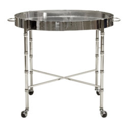 Worlds Away - Worlds Away Bamboo Bar Cart BRIGHTON, Silver - Worlds Away Nickel Plated Bamboo Bar CartBRIGHTON N