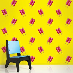 Wallcandy Arts Peel And Stick Wallpaper Twin Pops Yellow/Pink - A feature wall covered in this bright yellow wallpaper would definitely add color and fun to a room! I wish it was lickable.