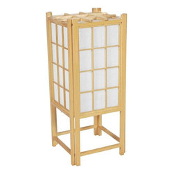 "Oriental Furniture - 18"" Window Pane Shoji Lamp - Natural - This 18"" tall Window Pane Shoji Lamp showers soft, soothing light onto its surroundings. Constructed from Scandinavian spruce and washi rice paper, its design is inspired by traditional shoji screens. At once timeless and contemporary, this lamp will make an elegant addition to any desk or tabletop."