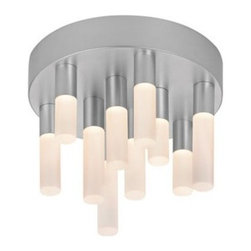 """Staccato 9""""  LED Flush Mount - The Staccato 10-Light LED Flush Mount by Sonneman has been designed by Robert Sonneman.The Staccato 10-Light LED Flush Mount consists of 10 LED wands arranged on a circular ceiling light at varying lengths. Each wand contains an LED lamp, softly diffused by a white etched, acrylic cylinder. Dimmable with ELV or standard (TRIAC) incandescent dimmer.  Product description:  The Staccato 10-Light LED Flush Mount by Sonneman has been designed by Robert Sonneman.The Staccato 10-Light LED Flush Mount consists of 10 LED wands arranged on a circular ceiling light at varying lengths. Each wand contains an LED lamp, softly diffused by a white etched, acrylic cylinder. Dimmable with ELV or standard (TRIAC) incandescent dimmer.  Details:      Manufacturer:     Sonneman      Designer:    Robert Sonneman        Made in:    USA        Dimensions:     Diameter:9"""" (22.86 cm) X Height:6.75"""" (17.15 cm)          Light bulb:  10 X LED Max 18W Overall Wattage        Material:      aluminum, metal, acrylic, polymer"""