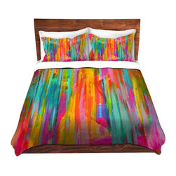 DiaNoche Designs - Duvet Cover Twill - Neon Double Abstract - Lightweight and super soft brushed twill Duvet Cover sizes Twin, Queen, King.  This duvet is designed to wash upon arrival for maximum softness.   Each duvet starts by looming the fabric and cutting to the size ordered.  The Image is printed and your Duvet Cover is meticulously sewn together with ties in each corner and a concealed zip closure.  All in the USA!!  Poly top with a Cotton Poly underside.  Dye Sublimation printing permanently adheres the ink to the material for long life and durability. Printed top, cream colored bottom, Machine Washable, Product may vary slightly from image.