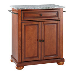 Crosley - Alexandria Solid Granite Top Portable Kitchen Island in Classic Cherry Finish - Constructed of solid hardwood and wood veneers, this kitchen island is designed for longevity. The Beautiful raised panel doors and drawer front provide the ultimate in style to dress up your kitchen. The deep drawer are great for anything from utensils to storage containers. Behind the two doors, you will find an adjustable shelf and an abundance of storage space for things that you prefer to be out of sight. Style, function, and quality make this kitchen island a wise addition to your home.