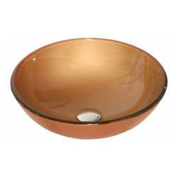 Renovators Supply - Vessel Sinks Glass Autumn Orange Vessel Sink Round | 12860 - Glass Vessel Sinks: Single Layer Tempered glass sinks are five times stronger than glass, 1/2 inch thick, withstand up to 350 F degrees, can resist moderate to high degrees of impact and are stain-proof. Ready to install this package includes FREE 100% solid brass chrome-plated pop-up drain, FREE machined 100% solid brass chrome-plated mounting ring and silicone gasket. Measures 16 1/2 inch diameter x 6 inch deep x 1/2 inch thick.