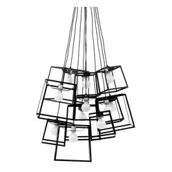 Iacoli & McAllister - Eleven Piece Black Frame Cluster Pendant - Not all art hangs on a wall. Frame yourself in the best light with this striking fixture. Five medium and six small lights hang anywhere you need to make a sculptural statement, and come in a variety of colors.