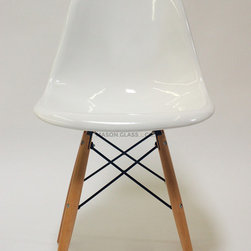 Mason Glass + Co. - Eames Style Fiberglass DSW Side Chair, White - The Mason Glass + Co.™ Eames Style Molded Fiberglass DSW Side Chair is a faithful reproduction of the original Eames style Molded Fiberglass Chair from the 1950s. A simple, gracious form that fits any body and every place, this chair is an ideal dining chair or office chair option for both formal and informal spaces alike. Quite possibly the most popular of the mid-century modern chair designs, our fiberglass finish has the same covetable surface variation and tell-tale fiberglass striation that have attracted avid vintage collectors for decades. Unlike the flimsy plastic versions of this chair, our molded fiberglass chair is extremely sturdy and will withstand many years of use. Available in four classic colors with wooden dowels constructed of sturdy oak.