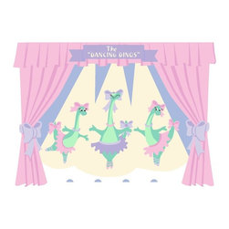 Elephants on the Wall - The Dancing Dinos Wall Mural - Dancing Dinos Wall Mural