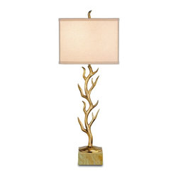 Currey and Company - Algonquin Table Lamp - An original interpretation of the classic coral/tree motif, this adorable table lamp makes an eclectic addition to any room. The Algonquin lamp is topped with a bone linen shade.