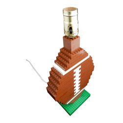 MR Brick Designer - Football Lego Table Lamp - A unique gift for an NFL or NCAA College football fan who loves LEGO! Add some fun to any space with this football lamp made from LEGO ® elements!