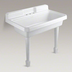 KOHLER - KOHLER Harborview(TM) top-mount or wall-mount utility sink with 3 faucet holes o - Harborview offers a classic design inspired by early-20th century sinks. Performing double duty as a kitchen or utility sink, Harborview provides generous workspace. The easy-to-clean design features an integrated apron and a backsplash to help contain liquids. Crafted from enameled cast iron, this sink resists scratching, burning, and staining for years of beauty and reliable performance.
