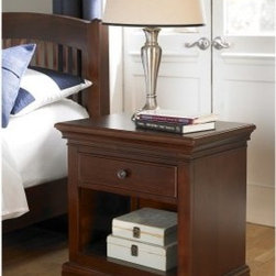 Walnut Street Power/Lite 1 Drawer Nightstand - Chestnut - The Power/Lite Nightstand Walnut Street is a classical-style companion for your child's bedside. Made from a combination of sturdy poplar solids and select chestnut-finish veneers, this handsome nightstand features a felt-lined pull-out drawer and an open-area storage cubby built into the frame. The drawer features a solid iron pull in either a brushed nickel finish. A three-outlet power strip is built into the back of the unit, making a convenient charge station. Also included is an under-unit nightlight (with three intensities) that helps keep the boogeyman at bay without being distracting to the sleeper.About New Energy Kids NE Kids is a company with a mission: to create and import truly unique furniture for your child. For over thirty years they've been accomplishing this mission with flying colors, one room at a time. Not only will these products look fabulous, they will provide perfect safety for your children by adhering to the highest standards set by the American Society for Testing and Material and the Consumer Products Safety Commission. Your kids are in the best of hands, and everyone will appreciate these high-quality, one-of-a-kind pieces for years to come.