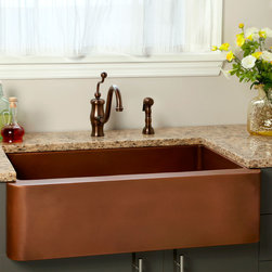 "33"" Amelie Copper Farmhouse Sink - Revel in extra space to tackle kitchen tasks with the hand-polished Amelie Copper Farmhouse Sink."
