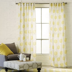 Spring Bloom Embroidered Window Panel - What could say spring more than these beautiful yellow dot curtains?