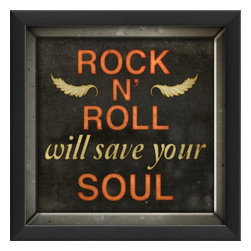 The Artwork Factory - Rock N Roll Will Save Your Soul Framed Artwork - Ready-to-Hang, 100% Made in the USA, museum quality framed artwork