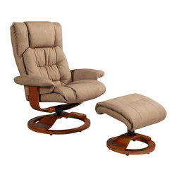"""Mac Motion Chairs - Mac Motion Walnut Swivel Recliner Chair and Ottoman in Stone Leather - Mac Motion Chairs - Recliners - VINCI914103. Norwegian styling never had it so good with this unique 2 piece matching chair and ottoman from the """"Oslo Collection"""". Nested within the strong selective hardwood frame with a rich """"Walnut"""" wood frame finish to match its accented ottoman this is the winner! Offering a pillow top back rest along the back cushion along with an angled headrest and """"MX-2"""" memory foam throughout makes for a therapy comfort support and styling. All within a standard seating are this models overall width of only 30"""" and fits very comfortably within most home areas. Features include 360 degree swivel multiple adjustment for personalized reclining positions and matching ottoman. Both pieces are covered in bonded leather everywhere you touch. This """"Stone"""" bonded leather color is complimented by the deep """"Walnut"""" wood frame finish of the quality euro style frame."""