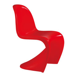 Panton Style S Chair, Red - In the early sixties, the danish designer Verner Panton together with the Vitra realised an idea which had preoccupied him for many years by producing a plastic chair from a single molding. In 1967, the panton chair went into mass production. It was immediately regarded as a sensation and won many awards. One of the first chairs is exhibited in the museum of modern art, new york, today the panton chair belongs to the classics of modern furniture design.