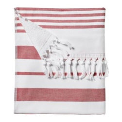 Serena & Lily - Fouta Beach Towel Nantucket Red - Woven in the tradition of fine Turkish towels, our version combines smooth cotton on one side with looped cotton terry on the other for added wicking. The generous size is a luxury; stripes and tassels bring a sense of style to the bath. And it gets loftier and more divine with each wash. At 425 grams, it's just the perfect weight and absorbency for those trips to the beach.