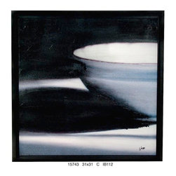 "Accetra Arts Ltd - Giclee on Canvas, ""The Bowl"", Black Frame - Ready to Hang, Framed with Black Slope Floater Frame."