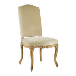 Kathy Kuo Home - Light Gold Taupe Velvet French Country Style Cathy Dining Chair - A luxurious dining chair or ornamental piece for a decadent living room, this Cathy Chair is the picture of sophistication. A simple, solid back covered in fine velvet compliments a beautifully carved birch frame with elaborate floral accent. A dramatic piece in the Queen Anne style.
