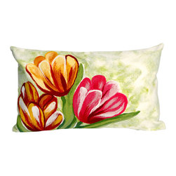 """Trans-Ocean - Tulips Red Pillow - 12""""X20"""" - The highly detailed painterly effect is achieved by Liora Mannes patented Lamontage process which combines hand crafted art with cutting edge technology.These pillows are made with 100% polyester microfiber for an extra soft hand, and a 100% Polyester Insert.Liora Manne's pillows are suitable for Indoors or Outdoors, are antimicrobial, have a removable cover with a zipper closure for easy-care, and are handwashable."""