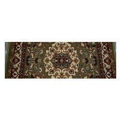 "Concord Global - Persian Classics 2035-Green Isfahan 2.7"" x 9""  - Premium Single Stair Treads - Persian Classics 2035-Green Isfahan 2.7"" x 9"""